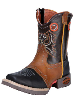 SQUARE TOE BOOT EL GENERAL E021 CRAZY HORSE LEATHER BLACK/HONEY