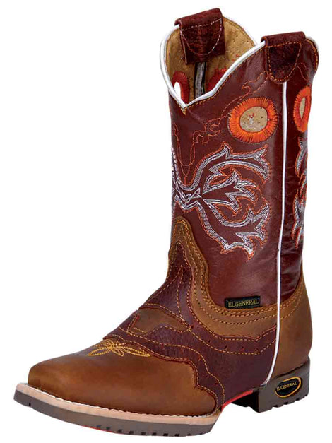 SQUARE TOE BOOT EL GENERAL 167 CRAZY HORSE LEATHER TANG/SHEDRON