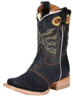 SQUARE TOE BOOT EL GENERAL SA070 CRAZY HORSE LEATHER BLACK/BROWN