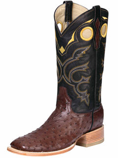 SQUARE TOE BOOT EL GENERAL BHT-AVE2 OSTRICH SKIN CIGAR