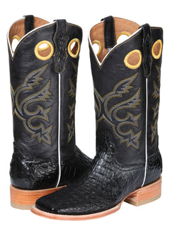 SQUARE TOE BOOT EL GENERAL BHT-CLO2 CAIMAN BELLY  BLACK
