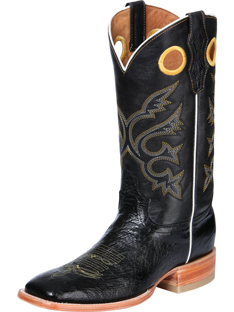 SQUARE TOE BOOT EL GENERAL BHT-PA2 OSTRICH SKIN BLACK
