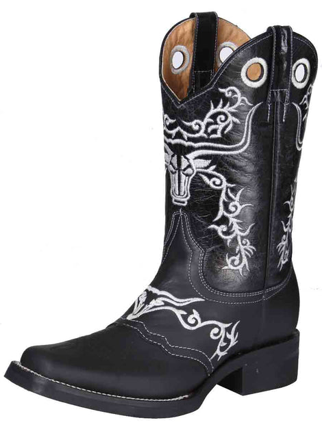 SQUARE TOE BOOT EL GENERAL ROD-10-CN-1+05140NETLI-5850 CRAZY HORSE LEATHER BLACK