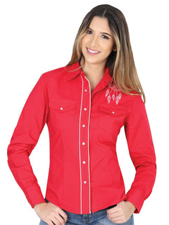 COWBOY SHIRT EL GENERAL VQD051 65% POLYESTER35% COTTON RED