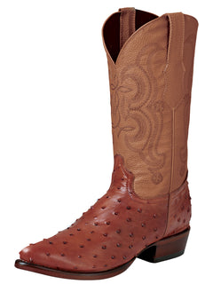 COWBOY BOOT EL SENOR DE LOS CIELOS IMIT-SR-01 IMITATION OSTRICH LEATHER COGNAC