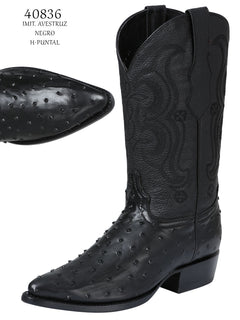 COWBOY BOOT EL SENOR DE LOS CIELOS IMIT-SR-02 IMITATION OSTRICH LEATHER BLACK