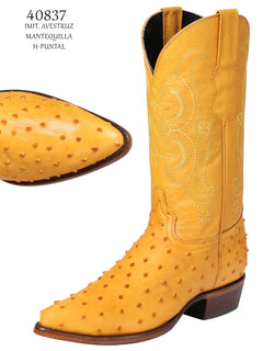 COWBOY BOOT EL SENOR DE LOS CIELOS IMIT-SR-03 IMITATION OSTRICH LEATHER BUTTERCUP