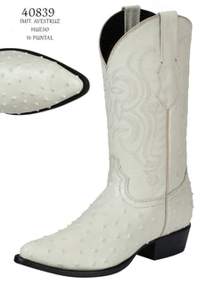 COWBOY BOOT EL SENOR DE LOS CIELOS IMIT-SR-05 IMITATION OSTRICH LEATHER BONE