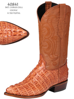 COWBOY BOOT EL SENOR DE LOS CIELOS IMIT-SR-07 IMITATION CAIMAN LEATHER COGNAC