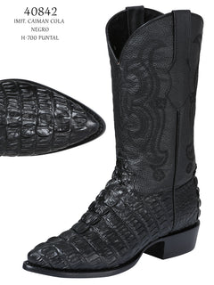 COWBOY BOOT EL SENOR DE LOS CIELOS IMIT-SR-08 IMITATION CAIMAN LEATHER BLACK