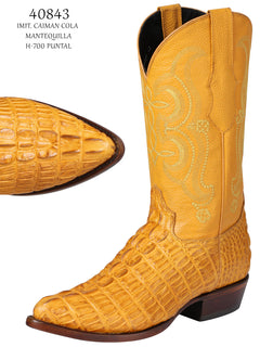 COWBOY BOOT EL SENOR DE LOS CIELOS IMIT-SR-09 IMITATION CAIMAN LEATHER BUTTERCUP