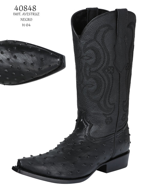 COWBOY BOOT EL SENOR DE LOS CIELOS IMIT-SR-14 IMITATION OSTRICH LEATHER BLACK