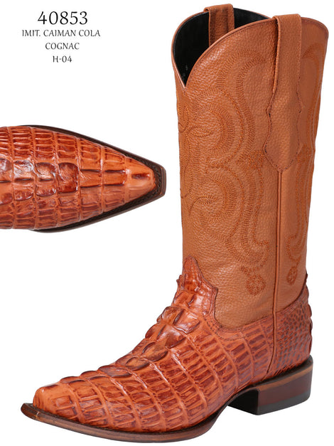 COWBOY BOOT EL SENOR DE LOS CIELOS IMIT-SR-19 IMITATION CAIMAN LEATHER COGNAC