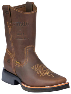SQUARE TOE BOOT BUFFALO & BULL 1070 CRAZY HORSE LEATHER TANG