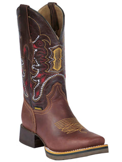SQUARE TOE BOOT BUFFALO & BULL 330 CRAZY HORSE LEATHER BROWN