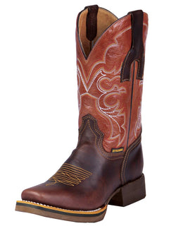 SQUARE TOE BOOT BUFFALO & BULL 330 LEATHER MOKA