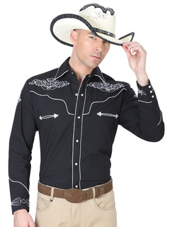 CHARRO SHIRT EL GENERAL MCH-02-03 65% POLYESTER35% COTTON BLACK