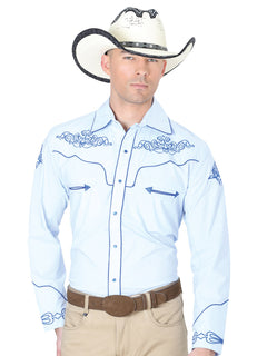 CHARRO SHIRT EL GENERAL MCH-02-03 65% POLYESTER35% COTTON BLUE