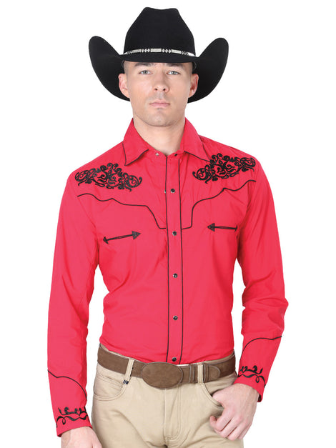 CHARRO SHIRT EL GENERAL MCH-02-04 65% POLYESTER35% COTTON RED