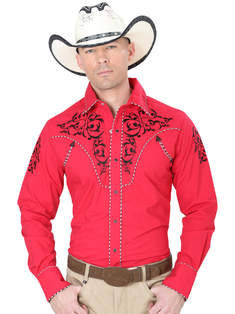 CHARRO SHIRT EL GENERAL MCH-02-07 65% POLYESTER35% COTTON RED