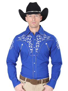 CHARRO SHIRT EL GENERAL MCH-02-07 65% POLYESTER35% COTTON BLUE