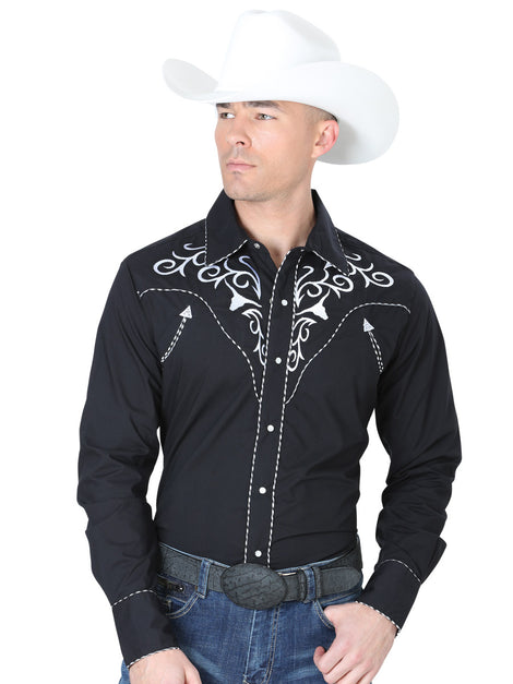 CHARRO SHIRT EL GENERAL MCH-02-10 65% POLYESTER35% COTTON BLACK