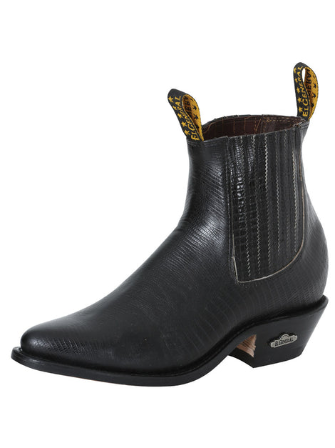 ANKLE BOOT EL GENERAL 20 IMITATION LIZARD LEATHER BLACK