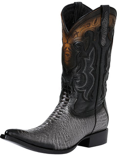 COWBOY BOOT EDICION LIMITADA EL GENERAL SR-VAQ-58 IMITATION OSTRICH LEG LEATHER GRAY