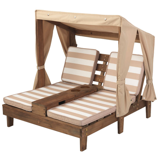 Kidkraft Double Chaise Lounge With Cup Holders Espresso Oatmeal