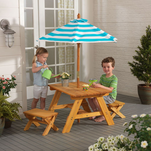 Kidkraft Outdoor Table Bench Set With Umbrella Turquoise White