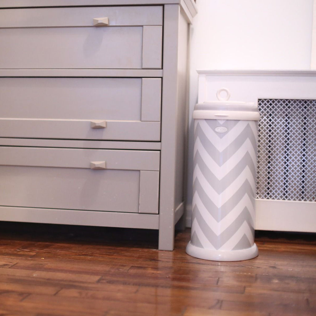 Ubbi Steel Diaper Pail - Grey Chevron