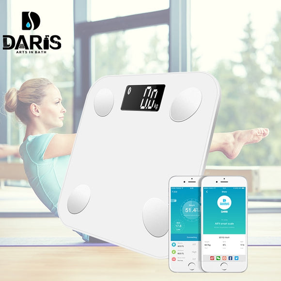 SDARISB Bluetooth scales floor Body Weight Bathroom Scale Smart Backlit Display Scale Body Weight Body Fat Water Muscle Mass BMI - Sport Guest