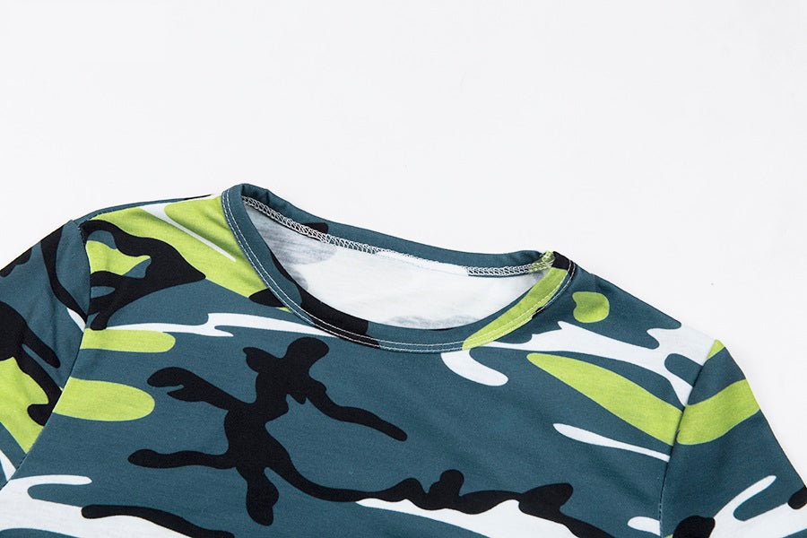 Green Camouflage Long Sleeve Top