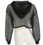 Ultra Cropped Fishnet Hoodie - 2 colors