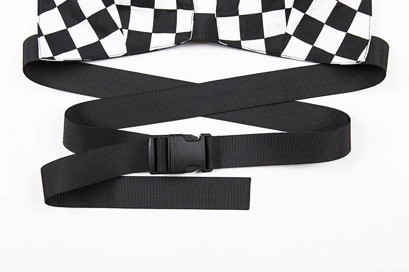 Checkered Clasp Belt Top