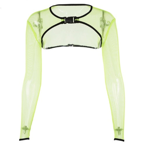 Ultra Cropped Fishnet Neon Clasp Top