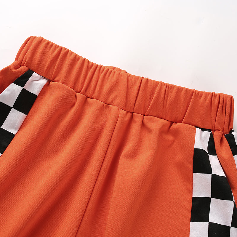 Orange Checkered Zip Pants