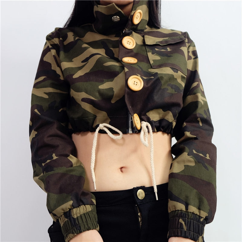 Camouflage Button Up Cropped Jacket