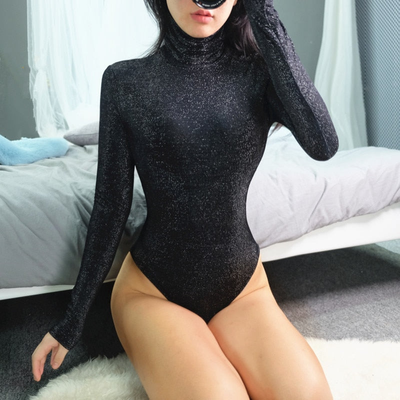 High Neck Shiny Bodysuit
