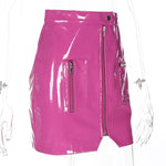 Zip PU Leather Pink Skirt