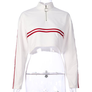 White Zip Cropped Jumper