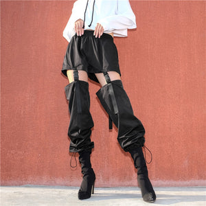 Adjustable Buckle Black Pants