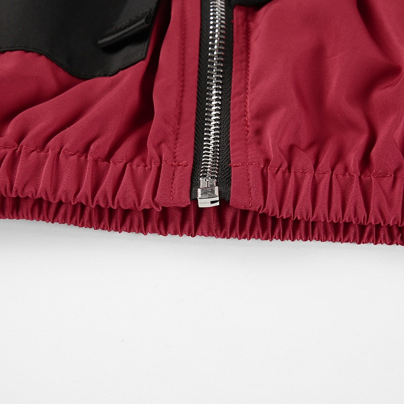 Burgundy Off Shoulder Bomber Jacket