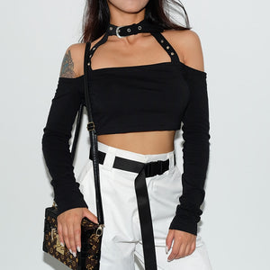 Sabrina Choker Belt Long Sleeve Top