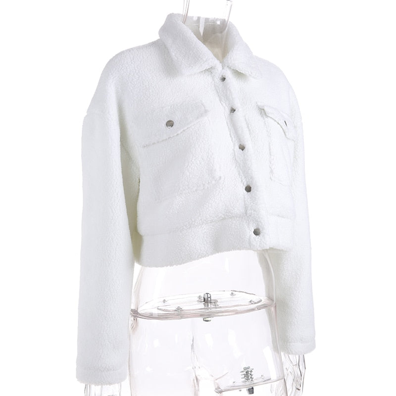 Cassie Fuzzy White Jacket