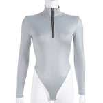Jennifer Silver Zipper Bodysuit