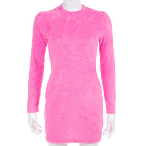 Long Sleeve Fluffy Pink Dress