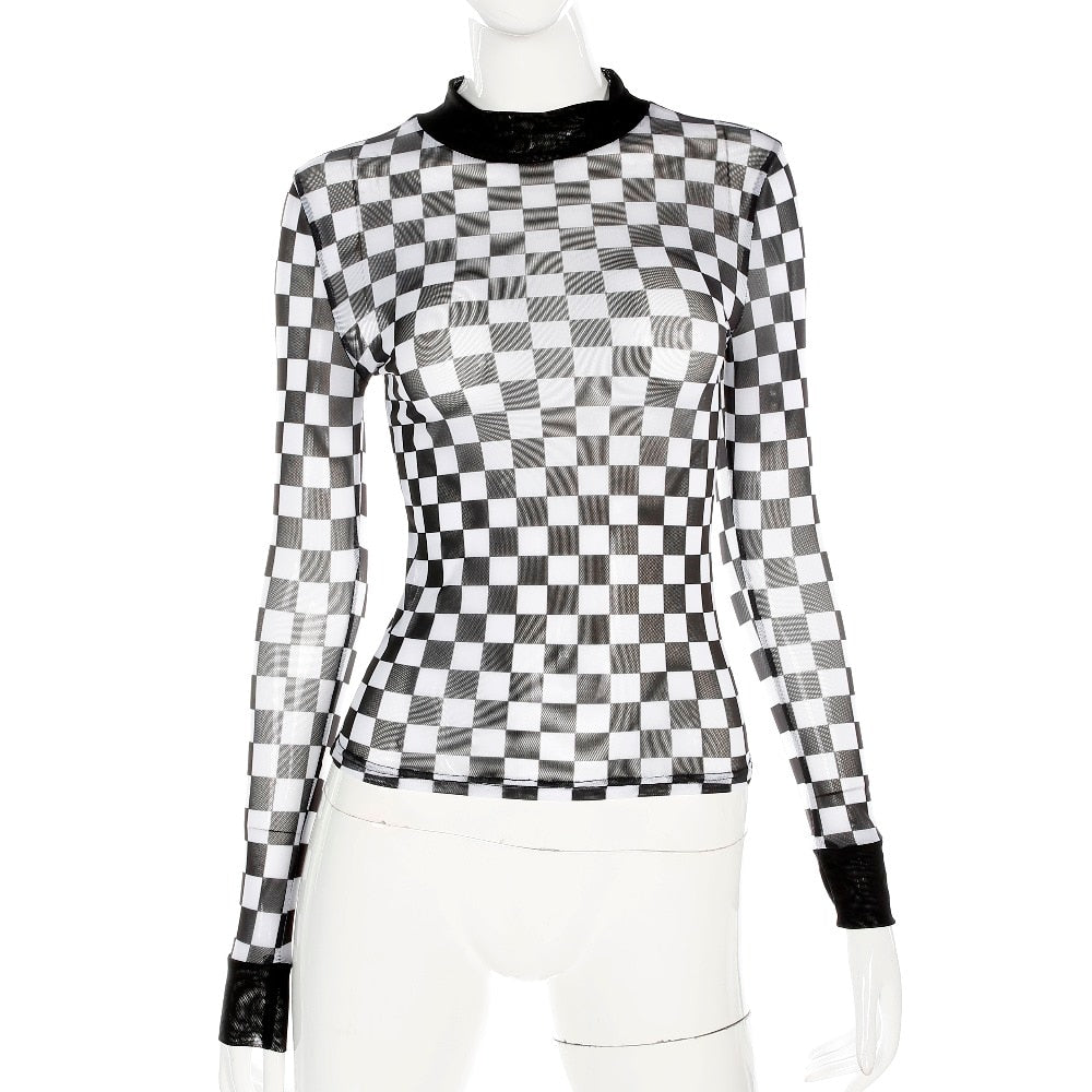 Checkerboard Mesh Long Sleeve Top