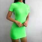 Neon Green Ribbed Dress