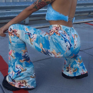 Angel Print Flare Pants